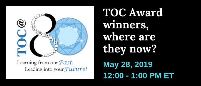 Webinar banner: 2018 TOC Award Winners, Where are they now